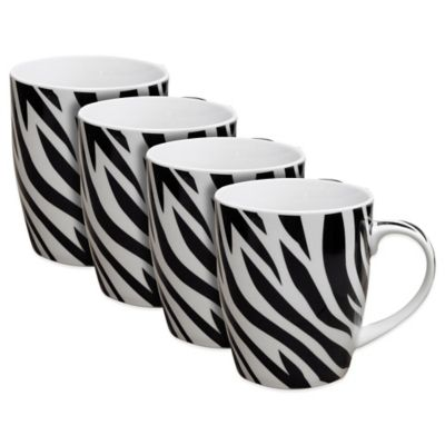Zrike Zebra Mugs (Set of 4)