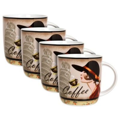 "Zrike Lady with Leaning Tower ""Coffee"" Mugs (Set of 4)"