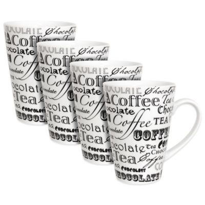 Zrike Coffee Words Mugs (Set of 4)
