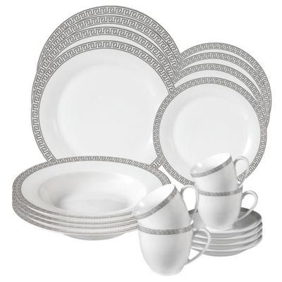 Lorren Home Trends Greek Key 24-Piece Dinnerware Set