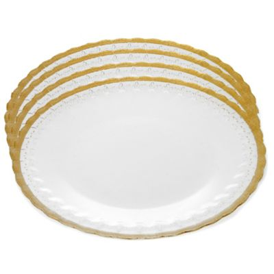 Classic Touch Trophy Glass Charger Plates with Gold Trim (Set of 4)