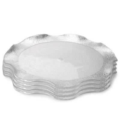 Classic Touch Trophy Wavy Glass Charger Plates in Silver (Set of 4)