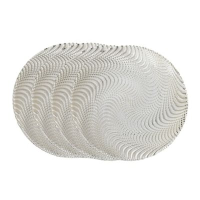 Classic Touch Trophy Charger Plates in Silver Wavy (Set of 4)