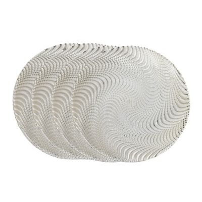 Classic Touch Trophy Serving Plates in Silver Wavy (Set of 4)