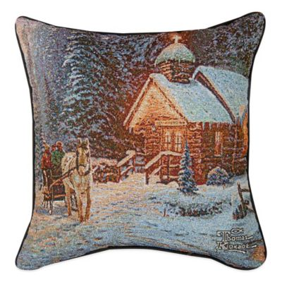 Christmas Chapel Square Throw Pillow