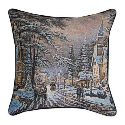 """Memories of Christmas Past"" Tapestry Square Throw Pillow"