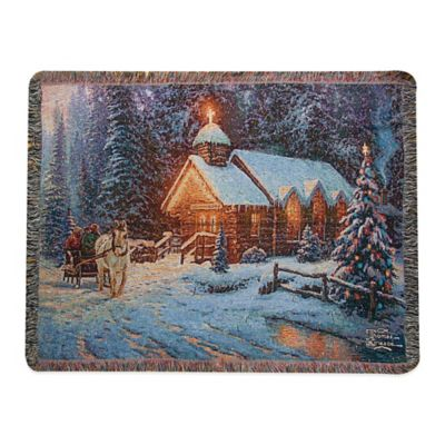 """Christmas Chapel"" Decorative Tapestry Throw"