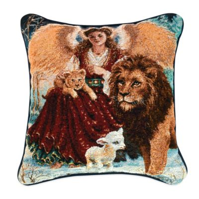 """Angel, Lion, and Lamb"" Tapestry Square Throw Pillow"