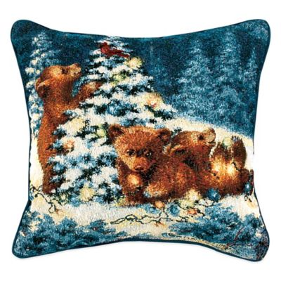 """Playful Bears"" Tapestry Square Throw Pillow"