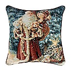 """Santa Teddy Bear"" Tapestry Square Throw Pillow"