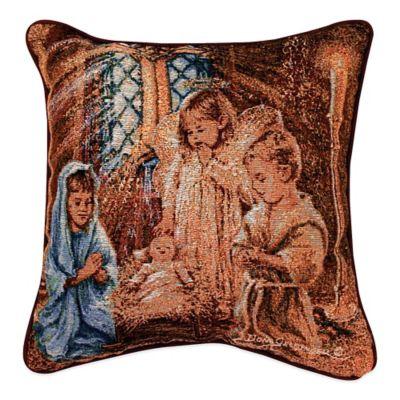 """""""Christmas Pageant"""" Tapestry Square Throw Pillow"""