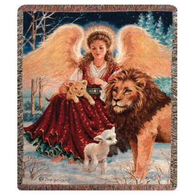 """Angel, Lion, and Lamb"" Decorative Tapestry Throw"