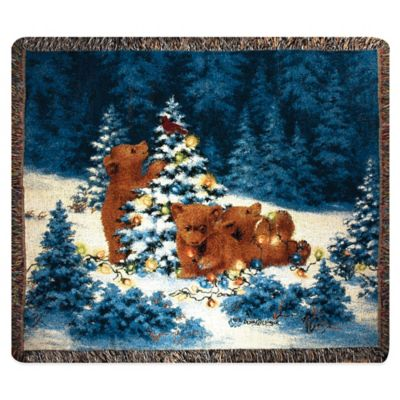 """Playful Bears"" Decorative Tapestry Throw"