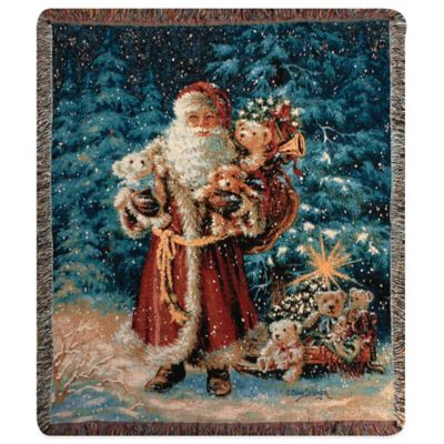 """Santa Teddy Bear"" Decorative Tapestry Throw"