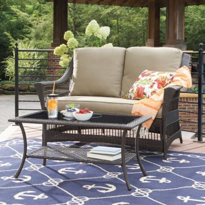 Savannah 2-Piece Wicker Loveseat Set in Sand