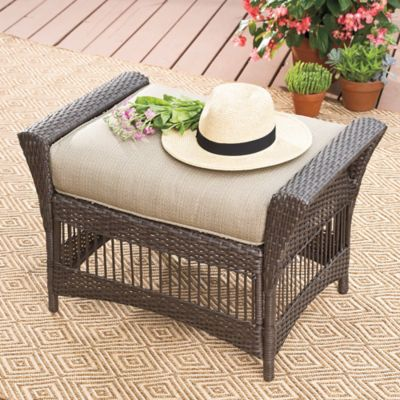 Savannah Wicker Ottoman in Sand