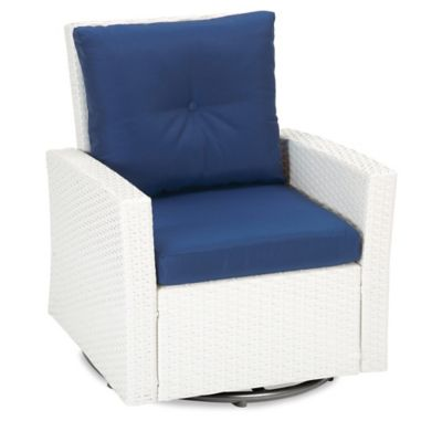 Barrington Wicker Swivel Chair in Blue