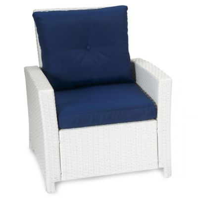 Barrington Wicker Club Chair in Blue