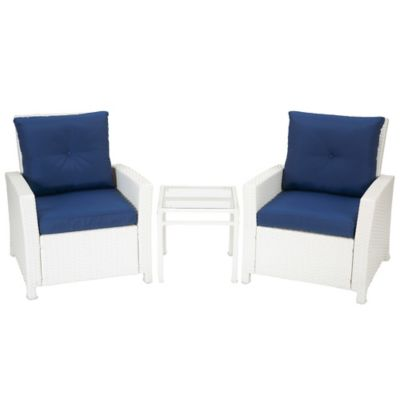 Barrington 3-Piece Wicker Club Chair Set in Blue
