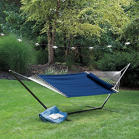Coastal Solid Hammock With Pillow In Blue Bed Bath Amp Beyond