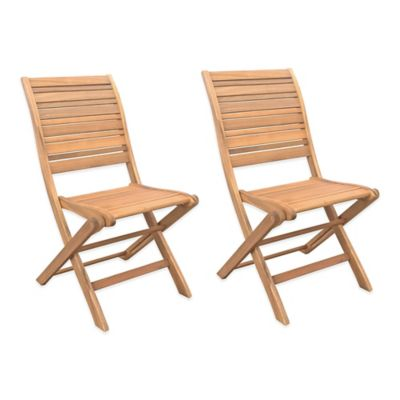 Westerly Acacia Wood Folding Chairs (Set of 2)