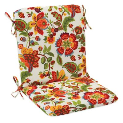 Outdoor Mid Back Cushion with Ties in Telfair Red