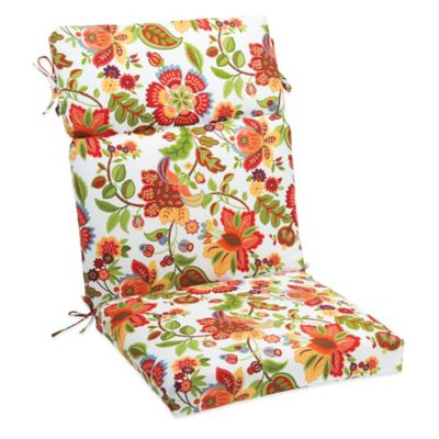 Outdoor High Back Cushion with Ties in Telfair Red