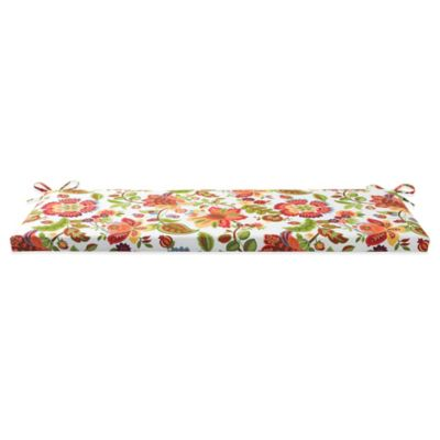 Outdoor Bench Cushion with Ties in Telfair Red