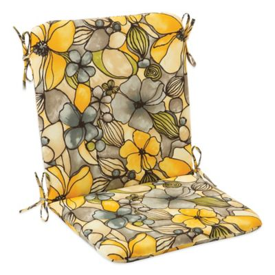 Outdoor Mid Back Cushion with Ties in Whitlock Yellow