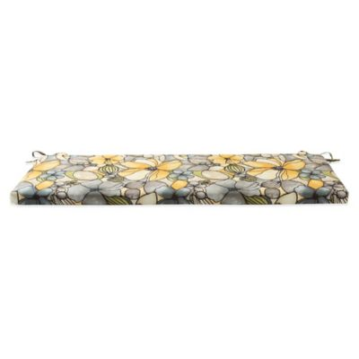 Outdoor Bench Cushion with Ties in Whitlock Yellow