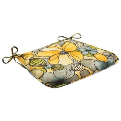 Outdoor Bistro Chair Cushion with Ties in Whitlock Yellow