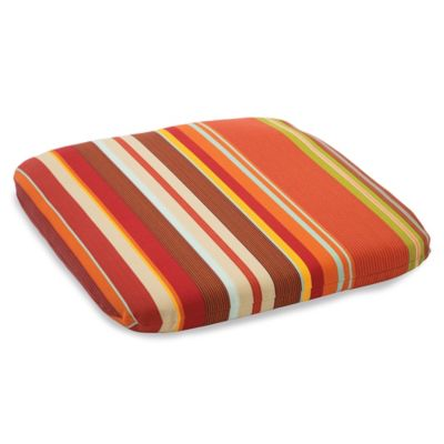 Outdoor Chair Cushion in Spice Stripe