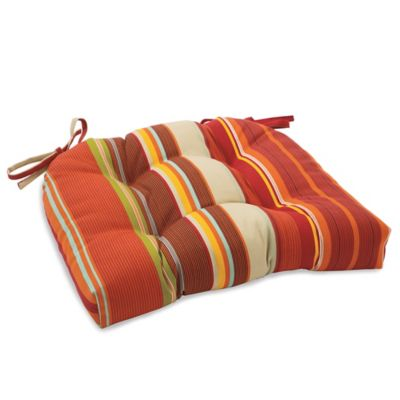 Outdoor Tufted Cushion with Ties in Spice Stripe