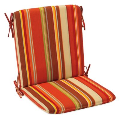 Outdoor Mid Back Cushion with Ties in Spice Stripe