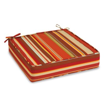 Outdoor Deep Seating Cushion with Ties in Spice Stripe