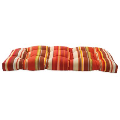Outdoor Settee Cushion in Spice Stripe