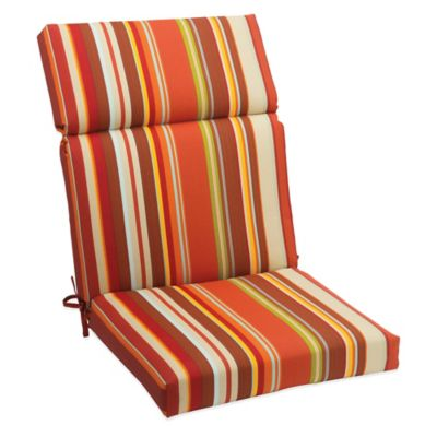 Outdoor High Back Cushion with Ties in Spice Stripe