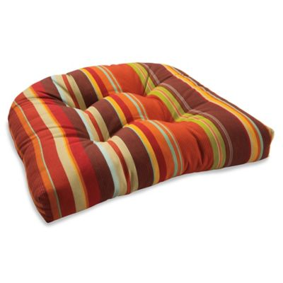Outdoor Tufted Cushion in Spice Stripe