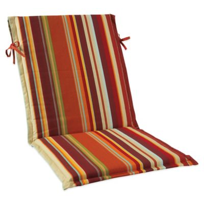 Outdoor Sling Cushion with Ties in Spice Stripe