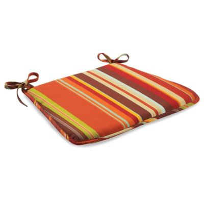 Outdoor Bistro Chair Cushion with Ties in Spice Stripe