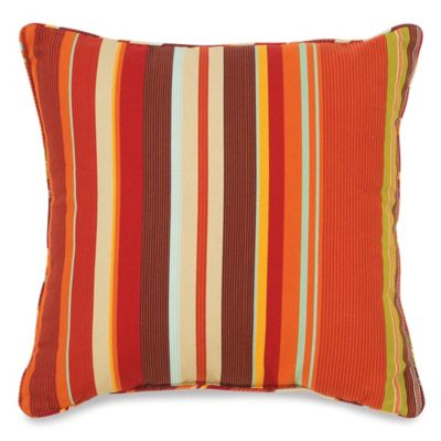 17-Inch Outdoor Square Throw Pillow in Spice Stripe
