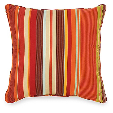 20 Inch Square Decorative Pillows : Buy 20-Inch Outdoor Square Throw Pillow in Spice Stripe from Bed Bath & Beyond