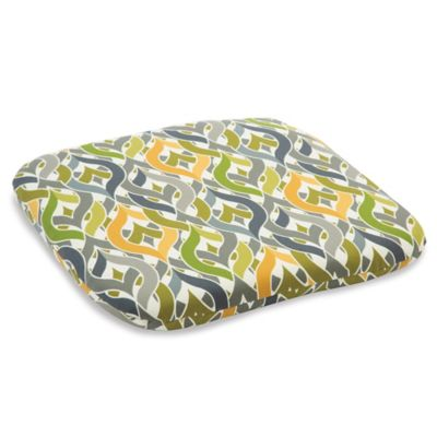 Outdoor Chair Cushion in Geo Yellow