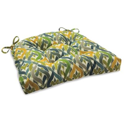 Outdoor Tufted Cushion with Ties in Geo Yellow