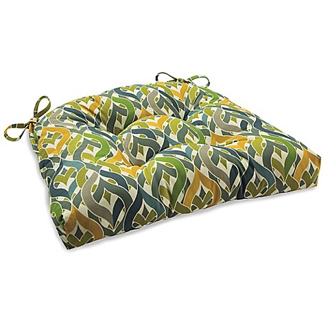 Outdoor Tufted Cushion With Ties In Geo Yellow Bed Bath