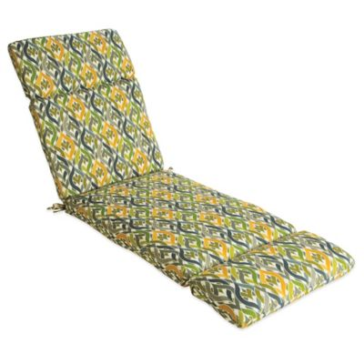 Outdoor Chaise Cushion in Geo Yellow