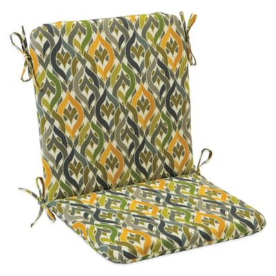 Outdoor Mid Back Cushion with Ties in Geo Yellow