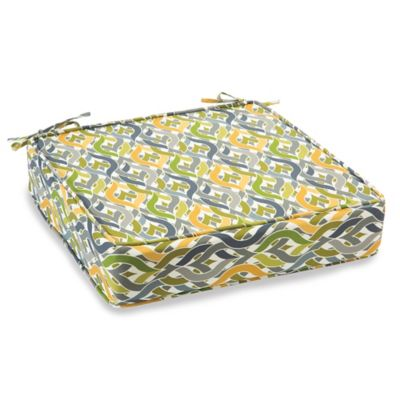 Outdoor Deep Seating Cushion with Ties in Geo Yellow