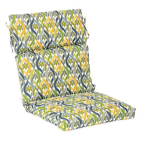 Outdoor High Back Cushion With Ties In Geo Yellow Bed