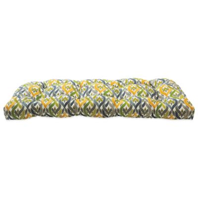 Outdoor Settee Cushion in Geo Yellow